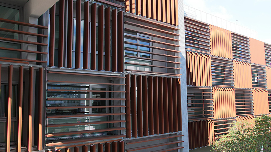 Corten Honeycomb Motorized Louvers Glasscon Gmbh Architectural Building Skins Fa Ade