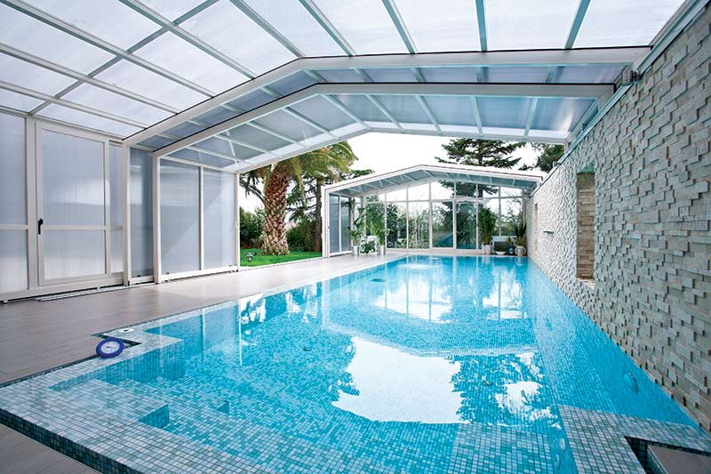 Lean to retractable pool enclosures glasscon gmbh architectural building skins fa ade Retractable swimming pool enclosures