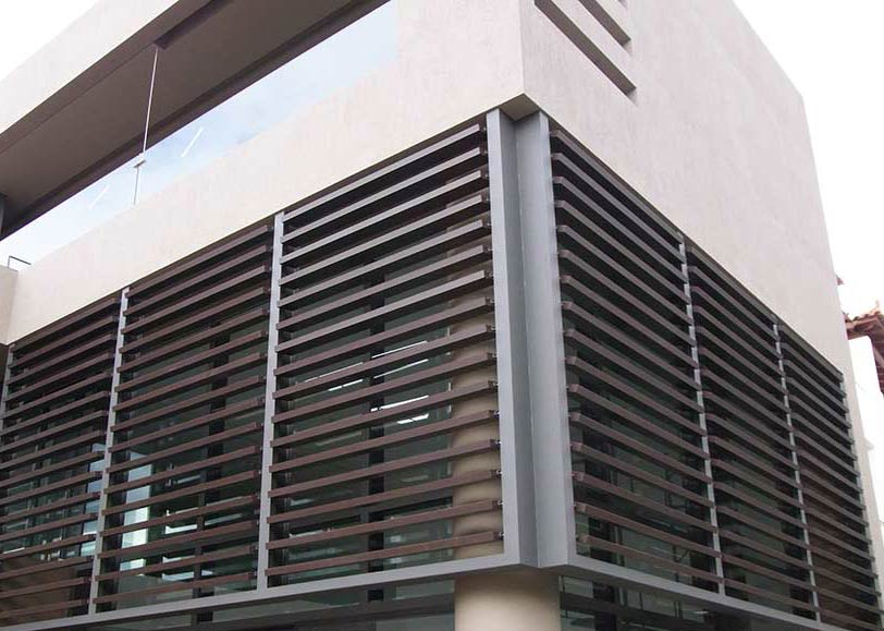 Timber Hpl Motorized Louvers Wooden Solar Shades Glasscon Gmbh Architectural Building