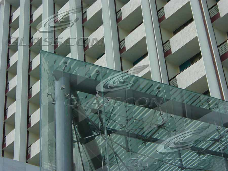 Suspended Curtain Wall : Star hilton hotel building façades tension rod spider