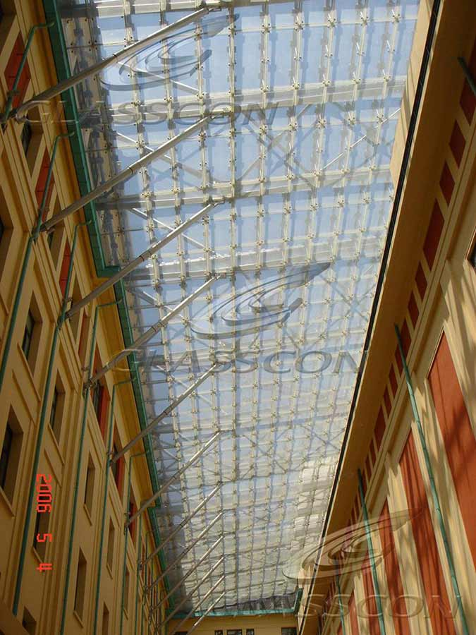 Glass Atrium Canopy With Bolted Glazing Glasscon Gmbh