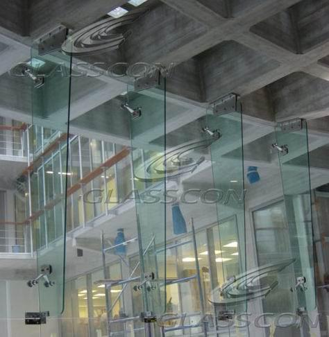 Curved Spider Glass Curtain Wall With Rotules And Glass