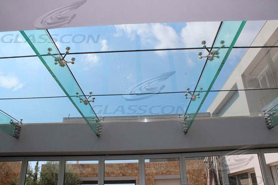 Structural Glass Fittings : Suspended structural glass roof canopy atrium on