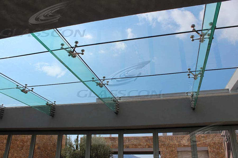 Structural Glass Canopy Systems : Structural glass roof with fins glasscon gmbh