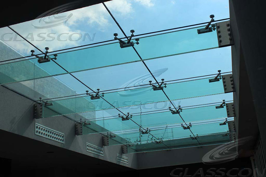Structural Glass Canopy Systems : Suspended structural glass roof canopy atrium on