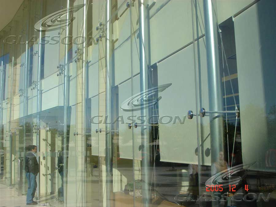Glass Fa 231 Ade Of A Bank With Point Fixed Curtain Wall