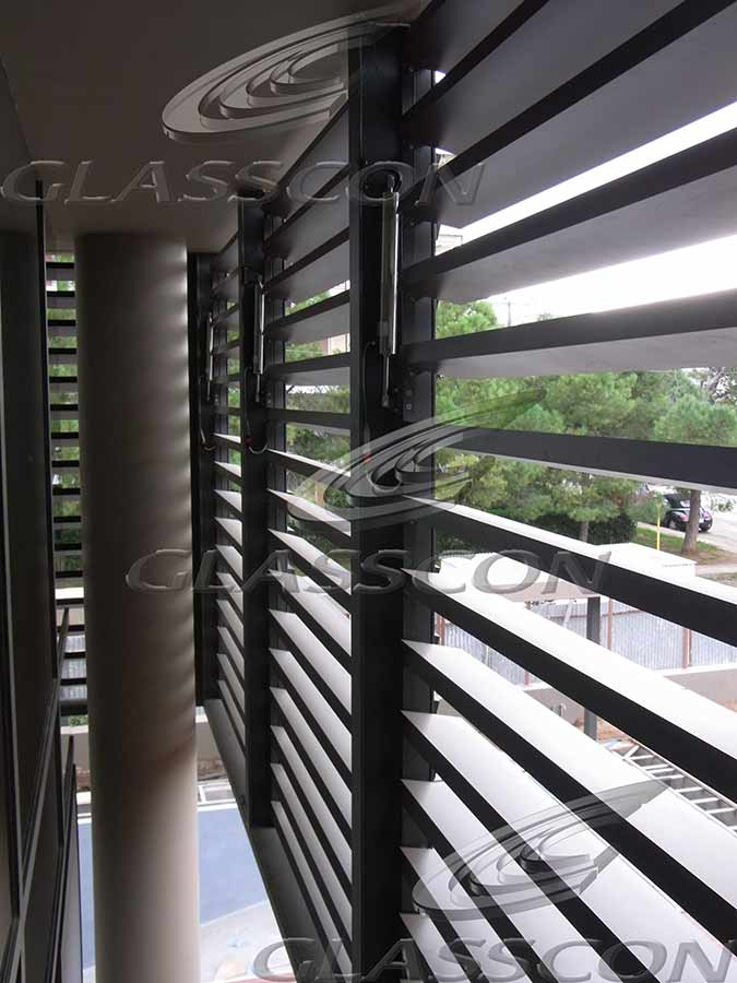 Motorized Wooden Hpl Solar Louvers Glasscon Gmbh
