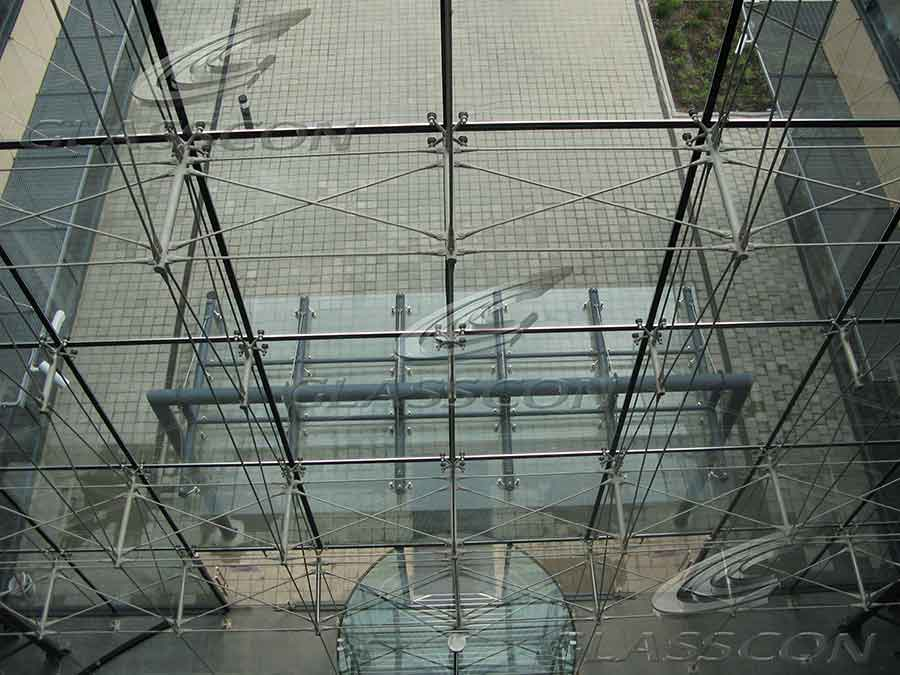 Suspended Curtain Wall : Spider glass curtain walls with suspended stainless steel