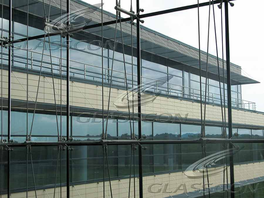Spider Glass Wall : Ceramic cladding spider glass curtain wall tension rod