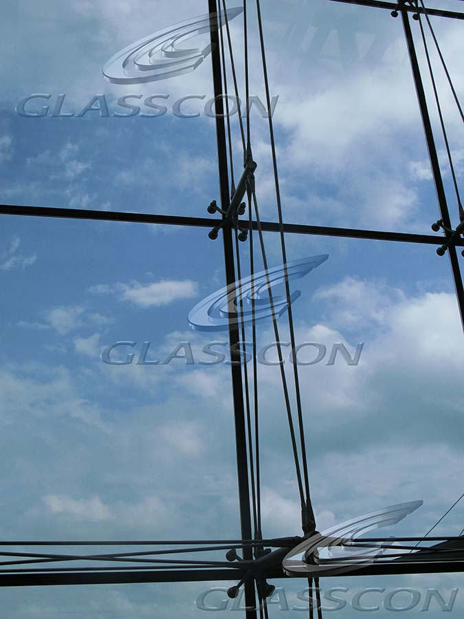 Suspended Curtain Wall : Ceramic cladding spider glass curtain wall tension rod