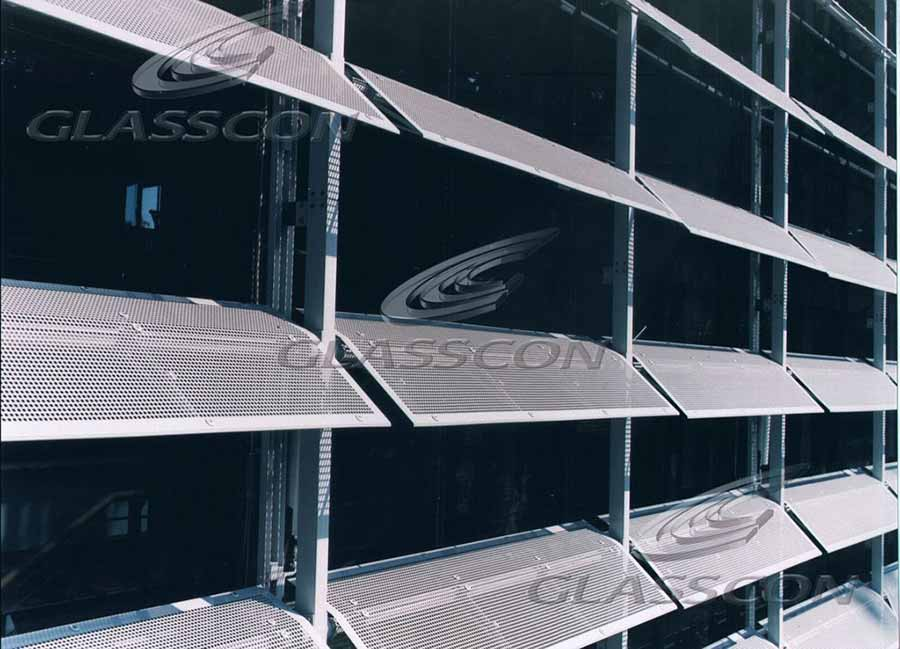 Facade With Motorized Aluminum Louvers Hpl Cladding Glasscon Gmbh Architectural Building