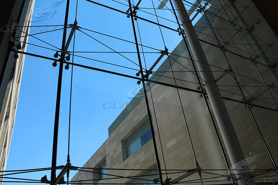 Spider Glass Wall : Spider glass curtain wall with prestressed tension rod
