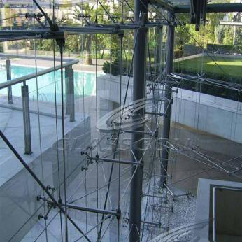5-Star Hilton Hotel Building Façades - Tension  Rod Spider Glass