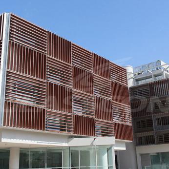 Aluminium shades placed vertically and horizontally for efficient solar shading