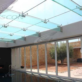 Suspended structural glass ROOF/CANOPY/ATRIUM on horizontal GLASS FINS/BEAMS above a swimming pool with movable folding glass doors from DORMA. ( ca. 90 sqm) - 17