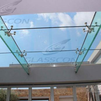 Suspended structural glass ROOF/CANOPY/ATRIUM on horizontal GLASS FINS/BEAMS above a swimming pool with movable folding glass doors from DORMA. ( ca. 90 sqm) - 18