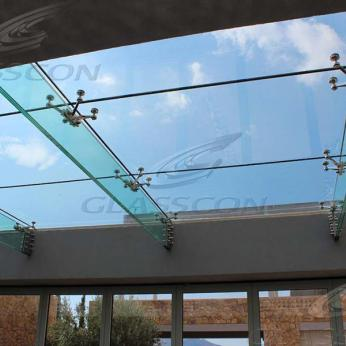 Suspended structural glass ROOF/CANOPY/ATRIUM on horizontal GLASS FINS/BEAMS above a swimming pool with movable folding glass doors from DORMA. ( ca. 90 sqm) - 20
