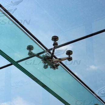 Suspended structural glass ROOF/CANOPY/ATRIUM on horizontal GLASS FINS/BEAMS above a swimming pool with movable folding glass doors from DORMA. ( ca. 90 sqm) - 21