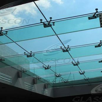 Suspended structural glass ROOF/CANOPY/ATRIUM on horizontal GLASS FINS/BEAMS above a swimming pool with movable folding glass doors from DORMA. ( ca. 90 sqm) - 0