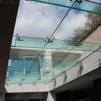 Suspended structural glass ROOF/CANOPY/ATRIUM on horizontal GLASS FINS/BEAMS above a swimming pool with movable folding glass doors from DORMA. ( ca. 90 sqm) - 6
