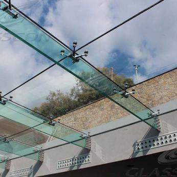 Suspended structural glass ROOF/CANOPY/ATRIUM on horizontal GLASS FINS/BEAMS above a swimming pool with movable folding glass doors from DORMA. ( ca. 90 sqm) - 7