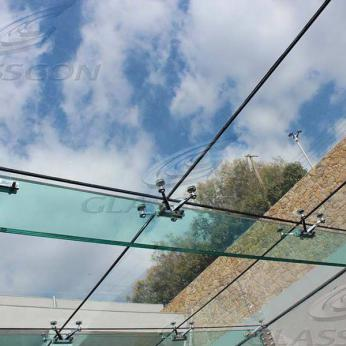 Suspended structural glass ROOF/CANOPY/ATRIUM on horizontal GLASS FINS/BEAMS above a swimming pool with movable folding glass doors from DORMA. ( ca. 90 sqm) - 15
