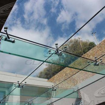 Suspended structural glass ROOF/CANOPY/ATRIUM on horizontal GLASS FINS/BEAMS above a swimming pool with movable folding glass doors from DORMA. ( ca. 90 sqm) - 16